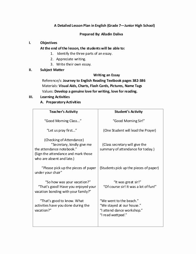 7 Step Lesson Plan Unique A Detailed Lesson Plan In English