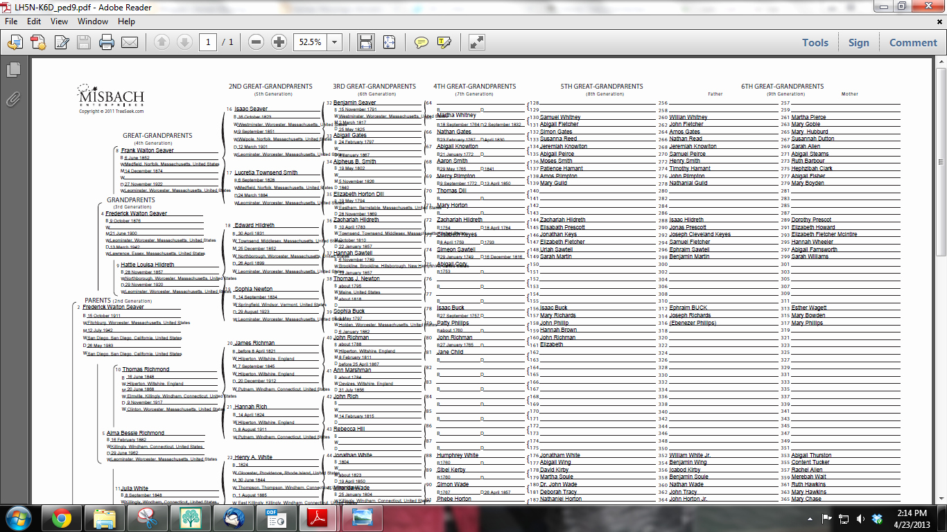 8 Generation Family Tree Template Lovely Genea Musings Great Charts at Treeseek Updated Oops