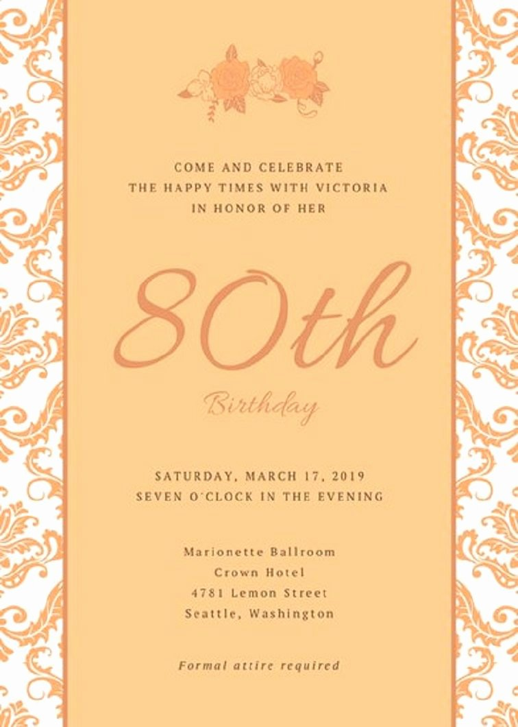 80th Birthday Invitation Templates Awesome 80th Birthday Invitation Templates