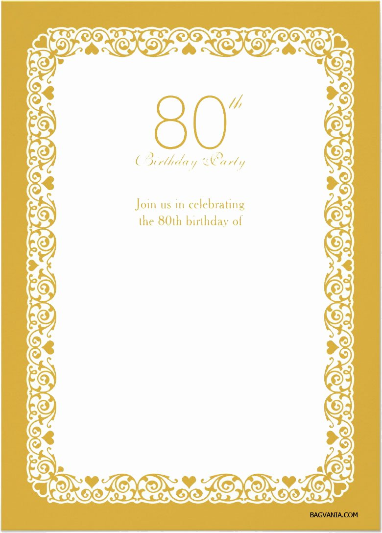 80th Birthday Invitation Templates Awesome Free Printable 80th Birthday Invitations – Free Printable Birthday Invitation Templates – Bagvania