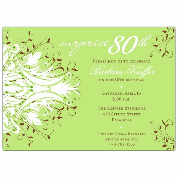 80th Birthday Invitation Templates Beautiful andromeda Green Surprise 80th Birthday Invitations
