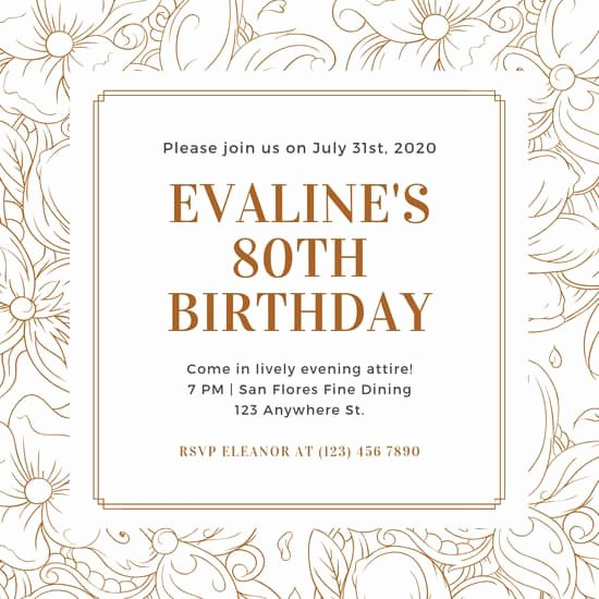 80th Birthday Invitation Templates Fresh Customize 314 80th Birthday Invitation Templates Online Canva