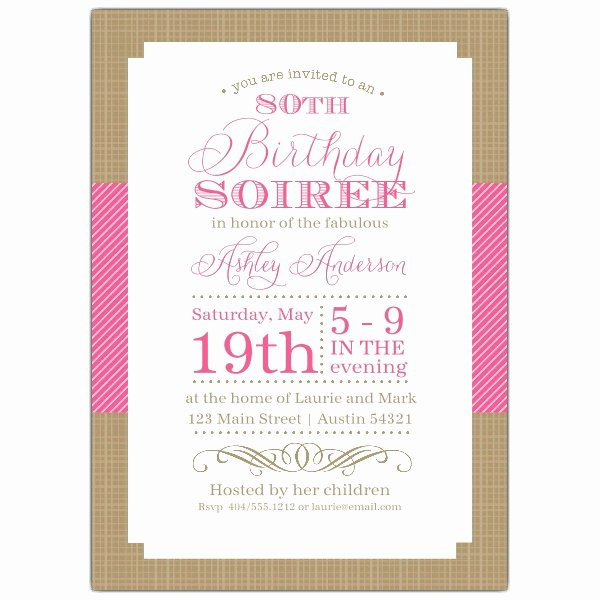 Nashville Pink 80th Birthday Invitations p 604 57 1209