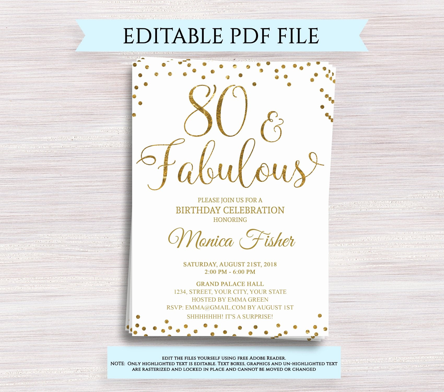 80th Birthday Invitation Templates Lovely Editable 80th Birthday Party Invitation Template 80 and