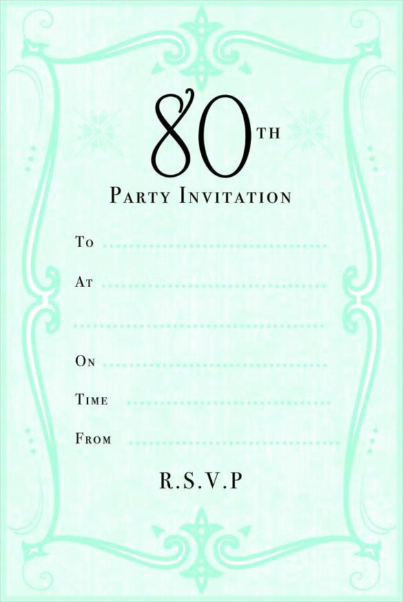 80th Birthday Invitation Templates Luxury 10 Sample 80th Birthday Party Invitations Templates for Your Loved Es