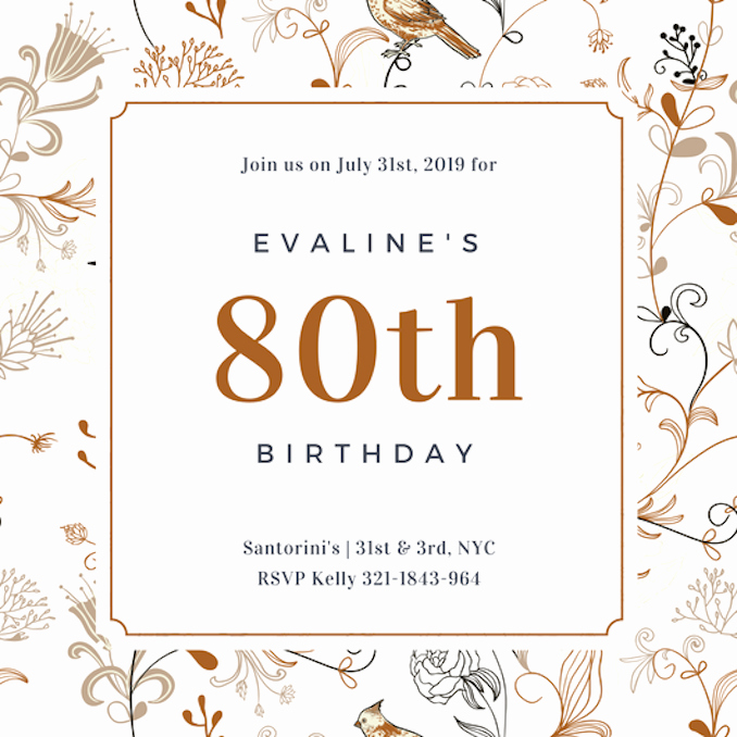 80th Birthday Invitation Templates New Invitation Maker Design Your Own Custom Invitation Cards Canva