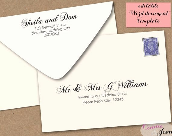 A7 Envelope Template Microsoft Word Beautiful Printable Wedding Envelope Template 5x7 Front and by