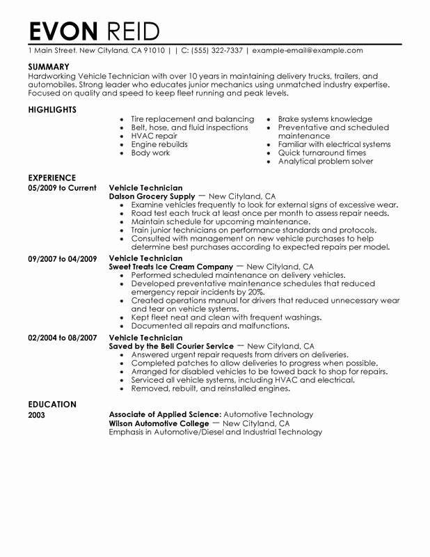 A&p Mechanic Resume Awesome Automotive Technician Resume Examples Free to Try today