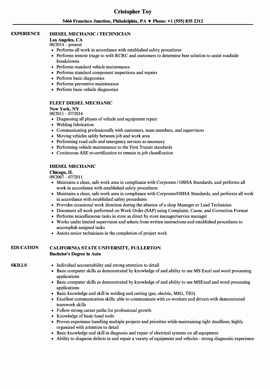 A&p Mechanic Resume Awesome Diesel Mechanic Resume Samples