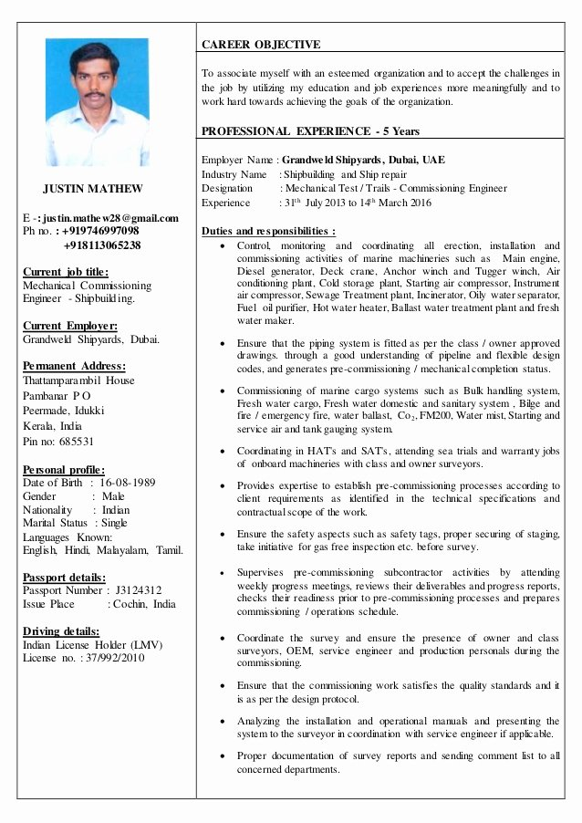 A&p Mechanic Resume Fresh Resume Justin Mathew Mechanical Test Trails Missioning Engin…