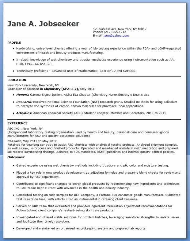 A&p Mechanic Resume New Entry Level Chemistry Resume Sample