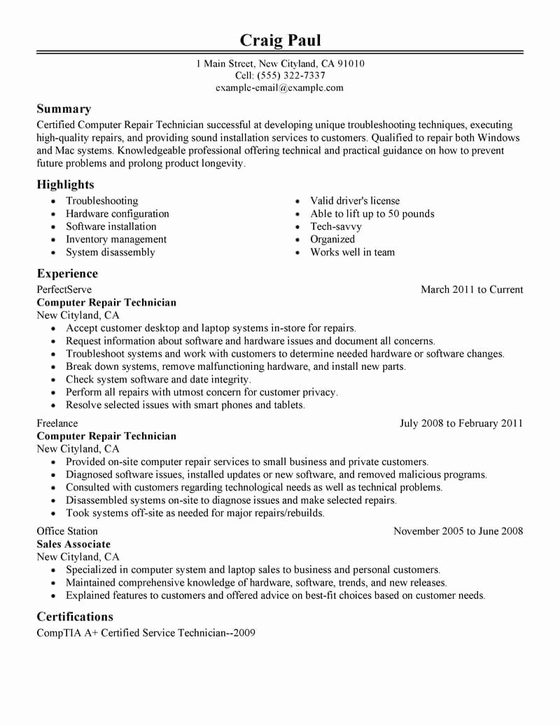 A&p Mechanic Resume Unique 9 Amazing Puters & Technology Resume Examples