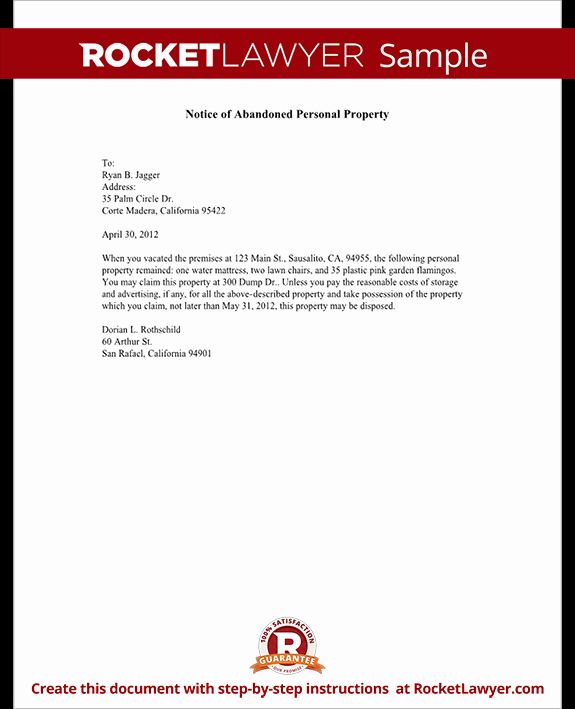 Abandoned Personal Property Letter Sample Lovely Abandoned Property Notice Notice Of Abandoned Personal