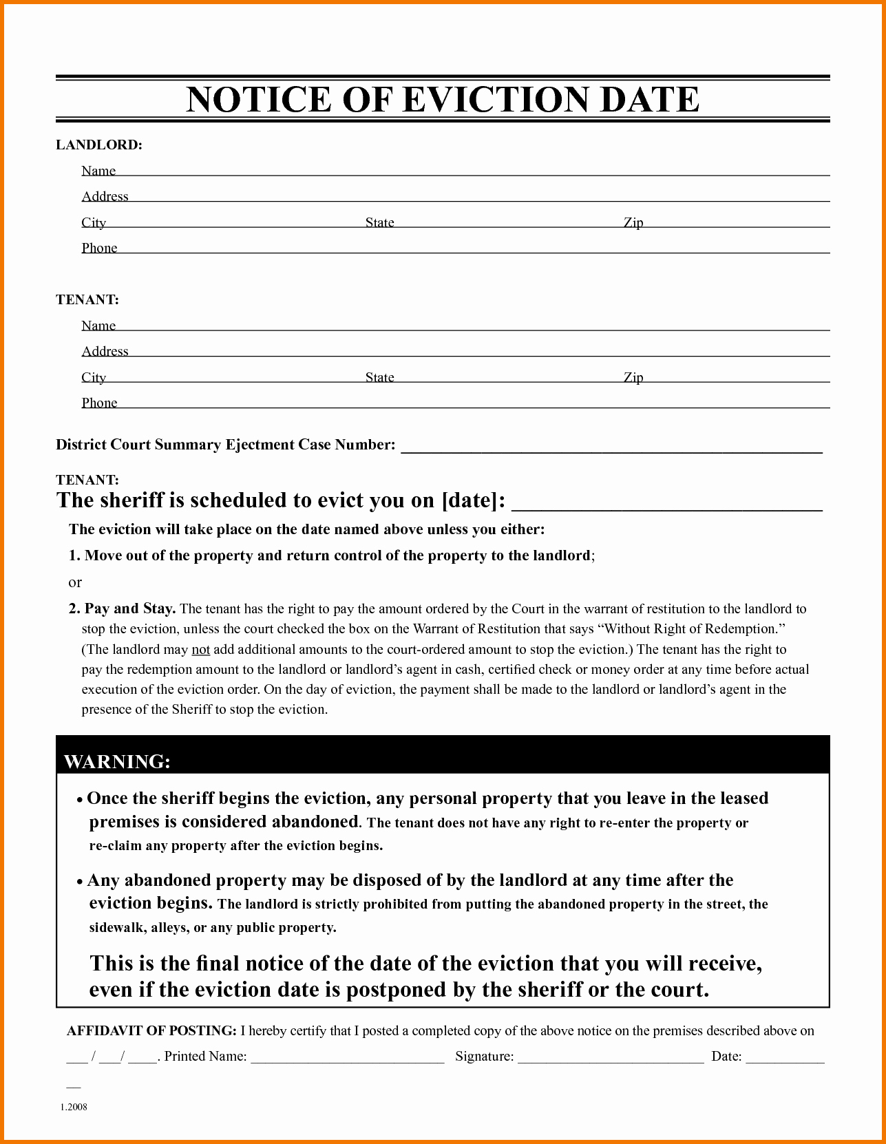 Abandoned Personal Property Letter Sample Luxury Free Eviction Notice form Free Eviction Notice Template