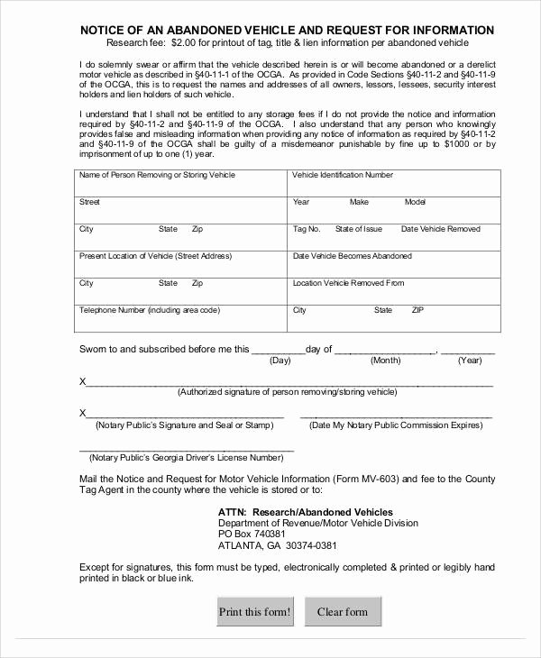 Abandoned Personal Property Letter Sample New Free 14 Abandonment Notice Templates In Pdf