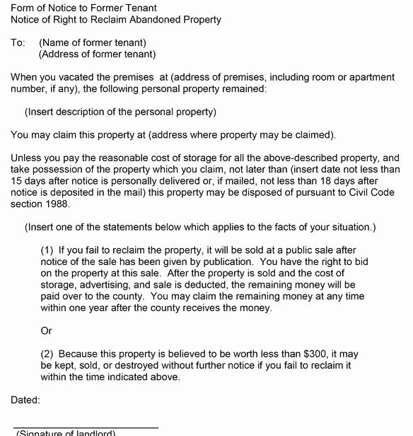 Abandoned Personal Property Letter Sample Unique How Long after A Tenant Leaves Possessions Behind are they