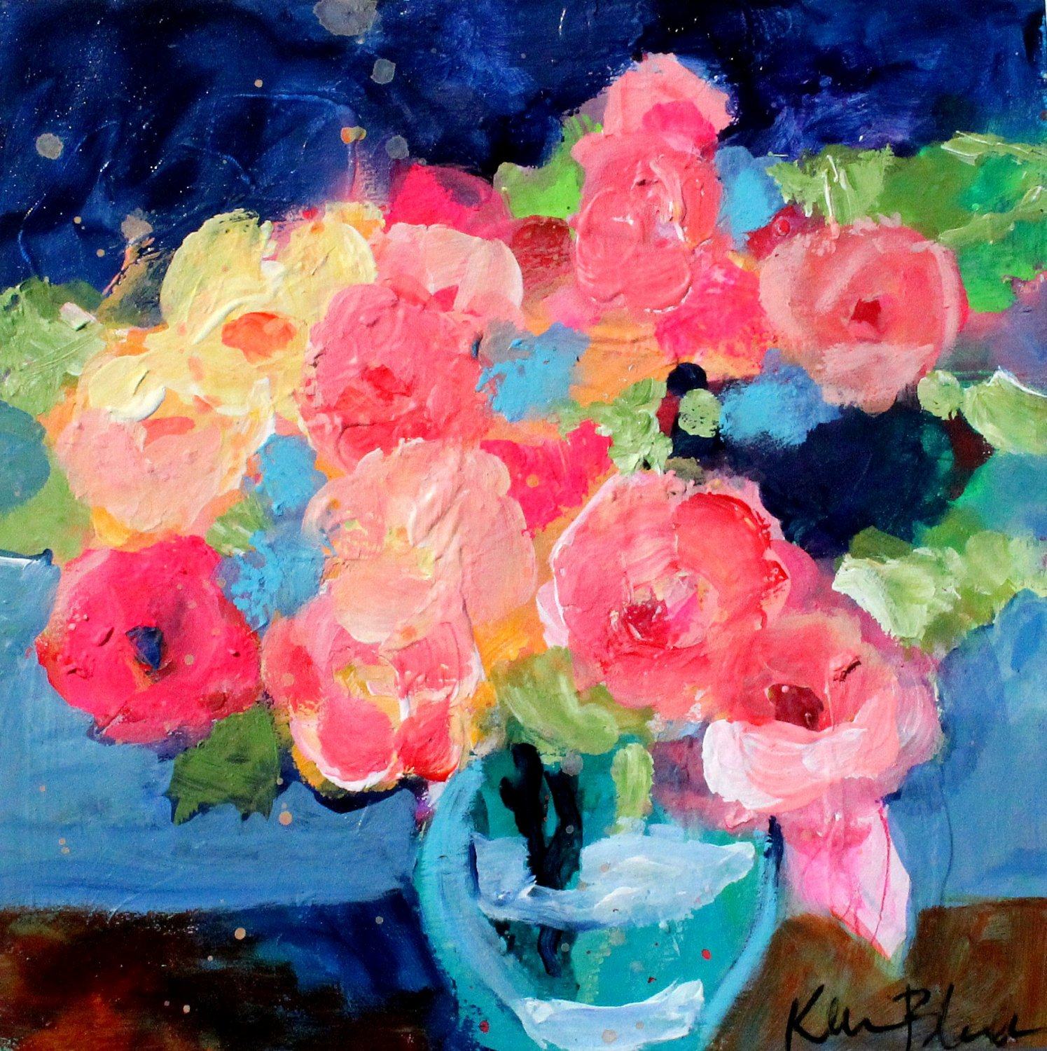 Abstract Painting Of Flower Beautiful Small Floral Still Life Abstract Flower Acrylic Painting