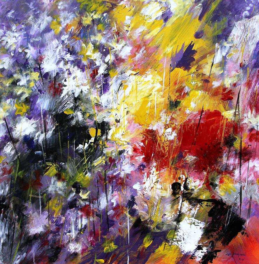 Abstract Painting Of Flower Elegant Abstract Flowers Painting by Mario Zampedroni