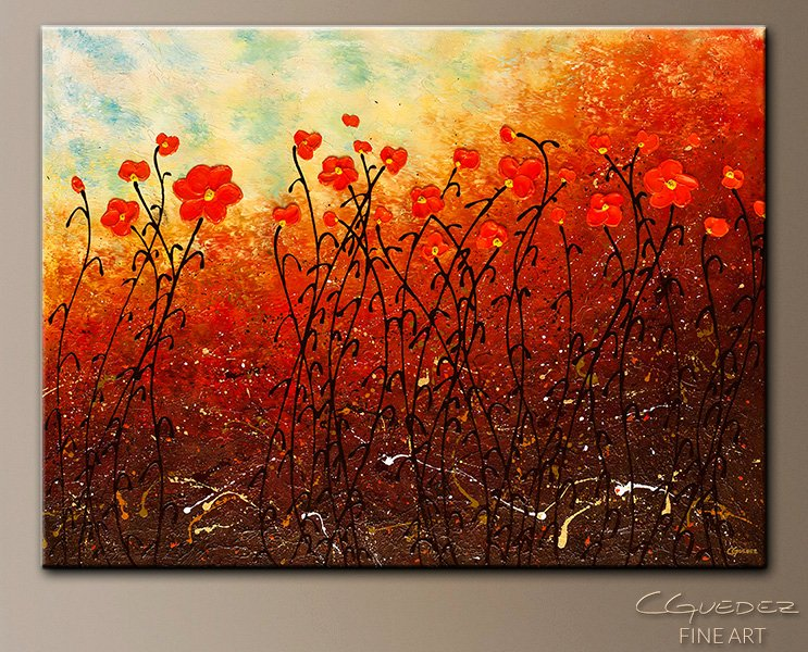 Abstract Painting Of Flower Elegant Blooming Flowers Abstract Wall Art Modern original Canvas Paintings Flowers
