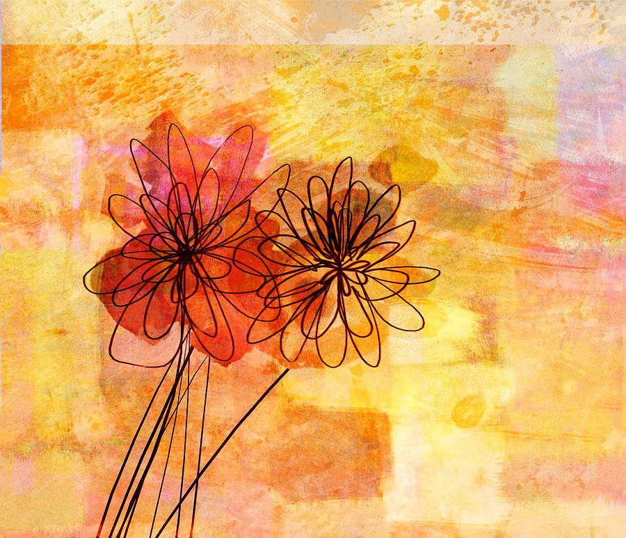 Abstract Painting Of Flower Fresh Floral Whimsy Abstract Flowers Painting by Ann Powell