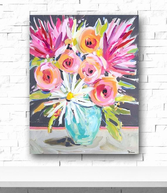 Abstract Painting Of Flowers Elegant Abstract Flowers Painting Pink Peonies Daisies Painting