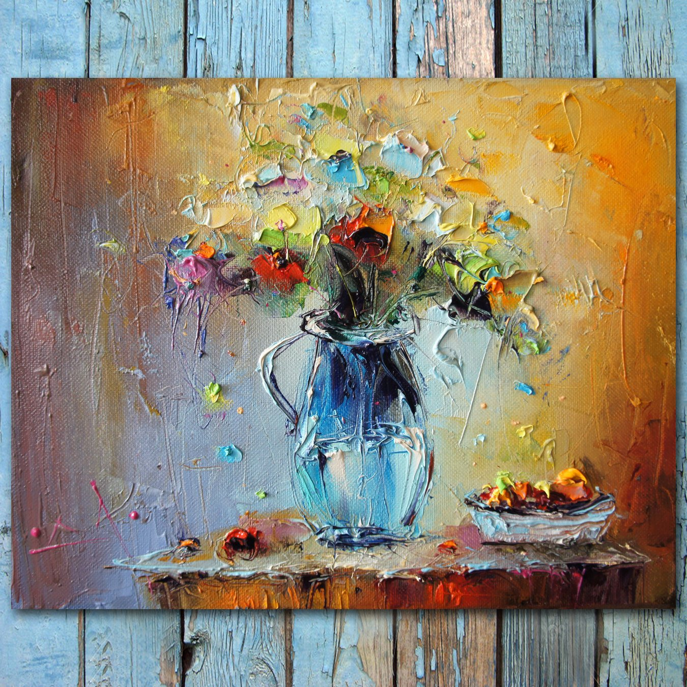 Abstract Painting Of Flowers Fresh Palette Knife Flowers Oil Painting Colorful Still Life