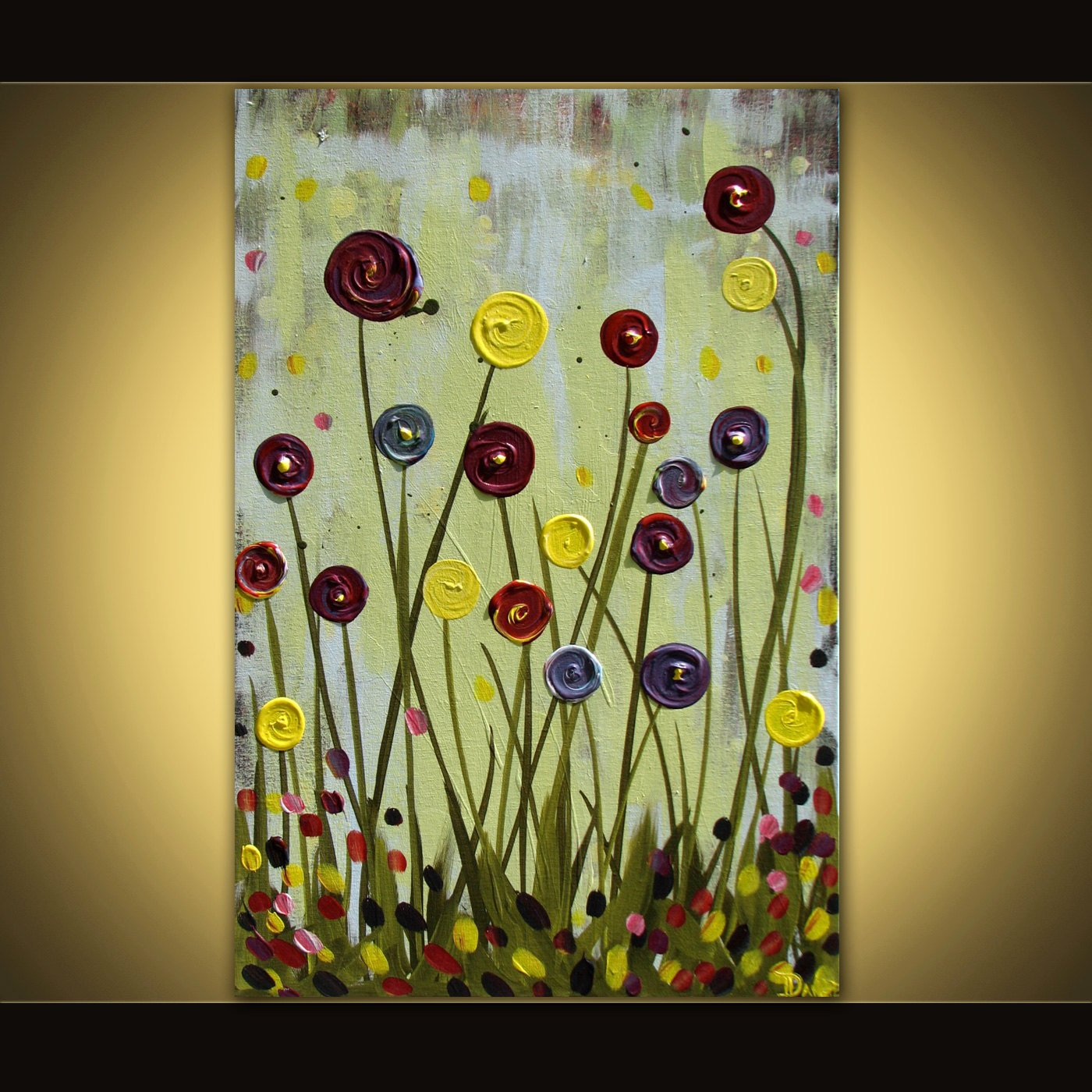 Abstract Painting Of Flowers Inspirational original Flower Painting Abstract Acrylic On Canvas 24x36 Huge