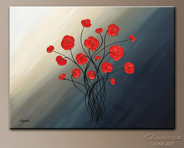 Abstract Painting Of Flowers Luxury Modern Art Clair De Lune Poppy Flower Paintings for Sale