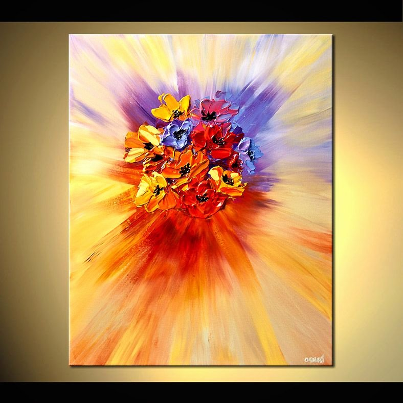 Abstract Painting Of Flowers Luxury original Abstract Art Paintings by Osnat Abstract