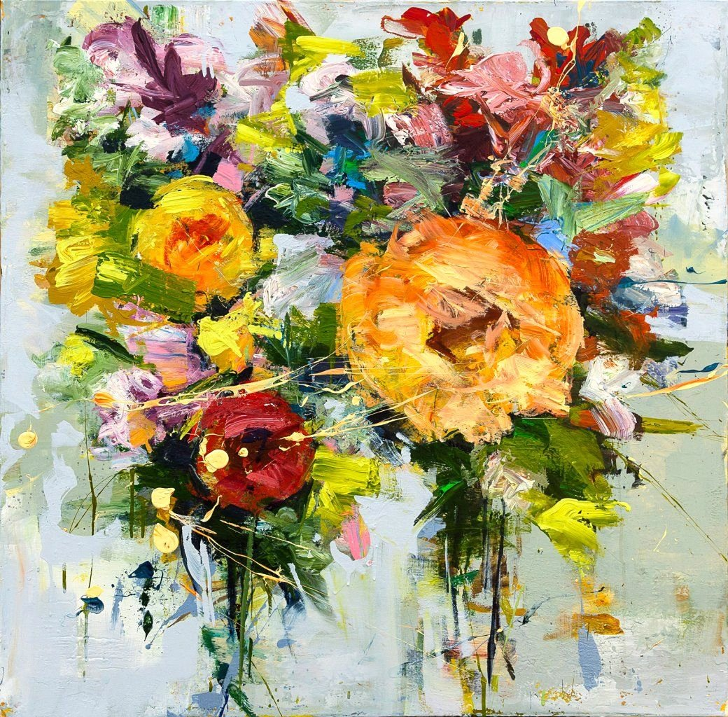 """Abstract Painting Of Flowers Unique Carmelo Blandino Operetta Ii Acrylic On Canvas 36"""" X"""