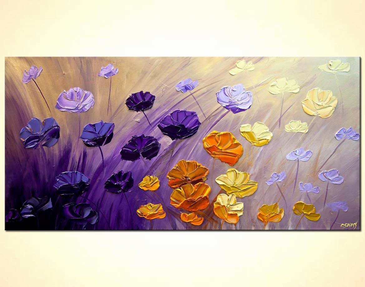 Abstract Paintings Of Flowers Awesome Painting for Sale Purple Flowers Painting original Textured Contemporary Modern Palette Knife