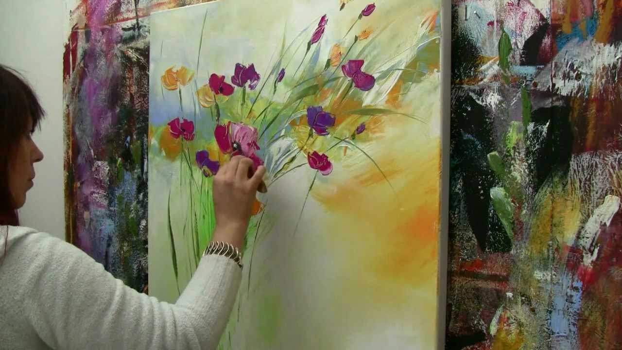 Abstract Paintings Of Flowers Beautiful Abstract Floral Painting Demo Time Lapse Abstraktes Blumenbild In Acryl Zacher Finet