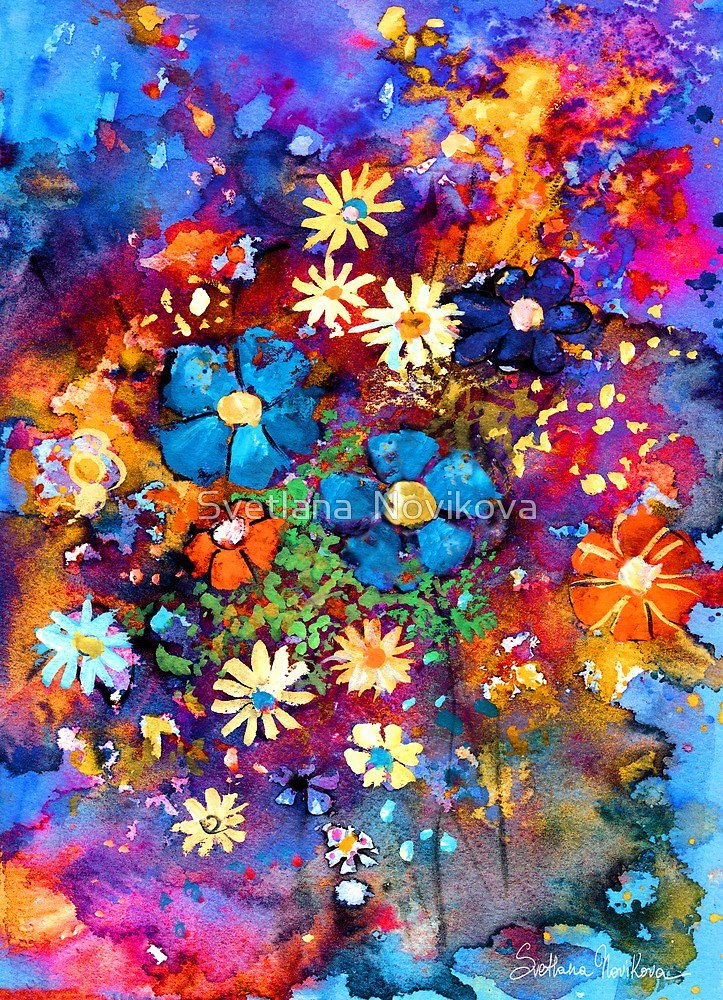 "Abstract Paintings Of Flowers Inspirational ""vibrant Abstract Flowers Painting"" by Svetlana Novikova"