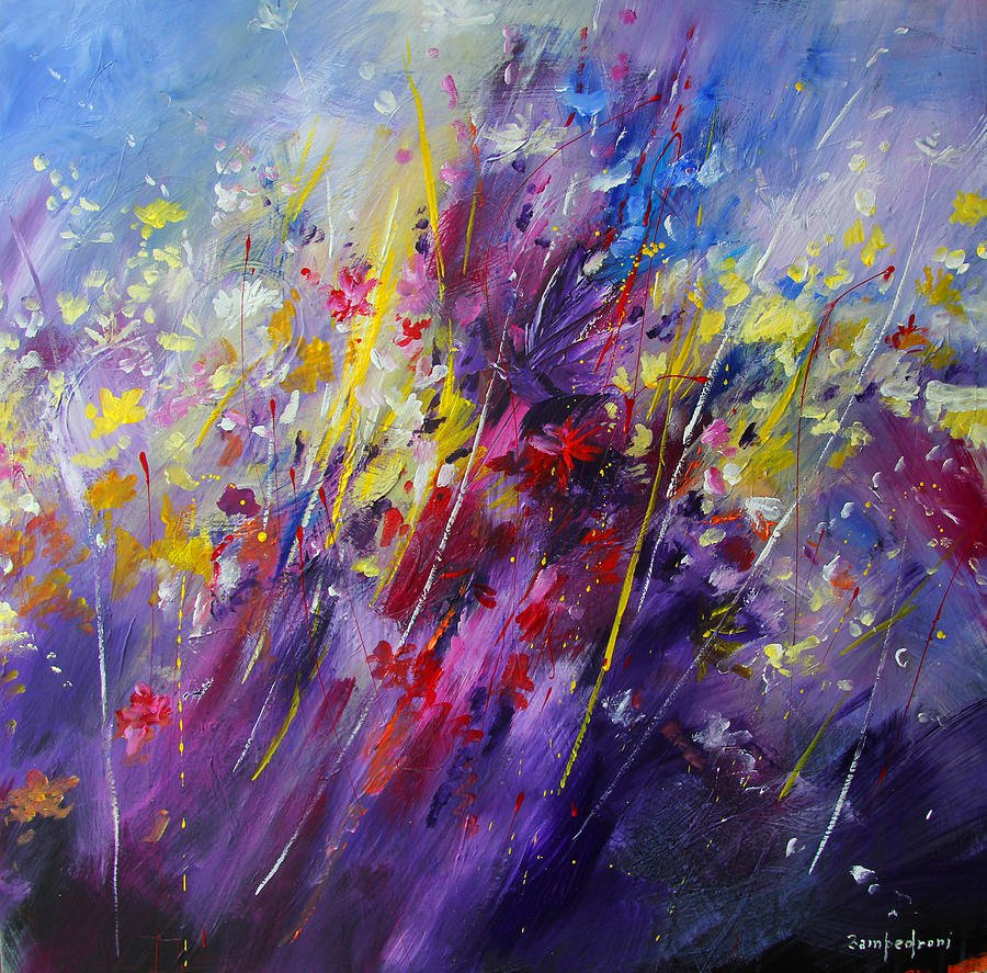 Abstract Paintings Of Flowers Unique Abstract Flowers Painting by Mario Zampedroni