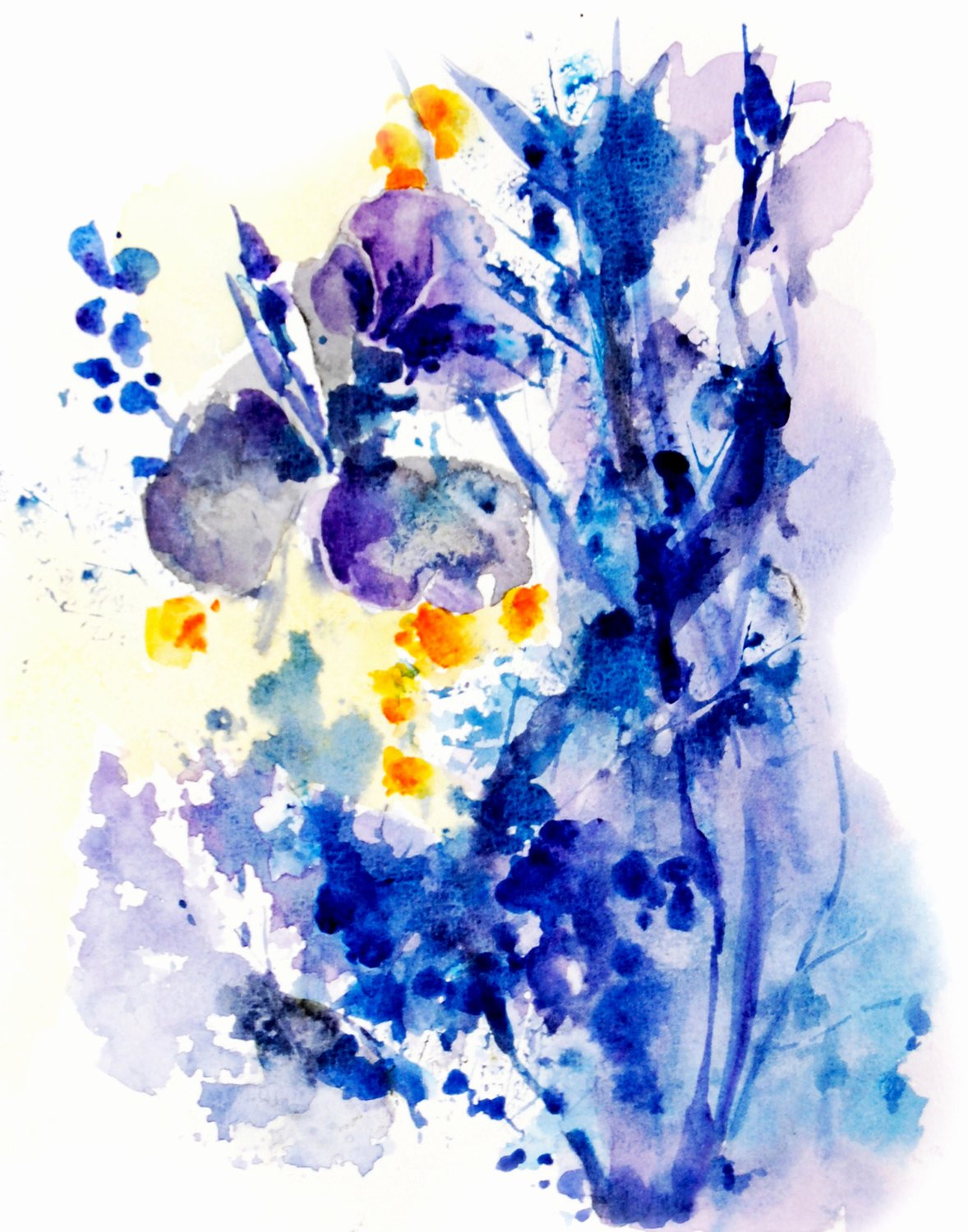 abstract flowers watercolor painting art