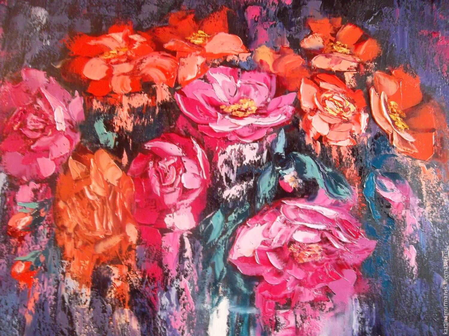 """Abstract Paintings Of Flowers Unique Oil Painting Abstract Flowers Fruit 70 80 """"flowers and Fruits for You"""" – заказать на Ярмарке"""