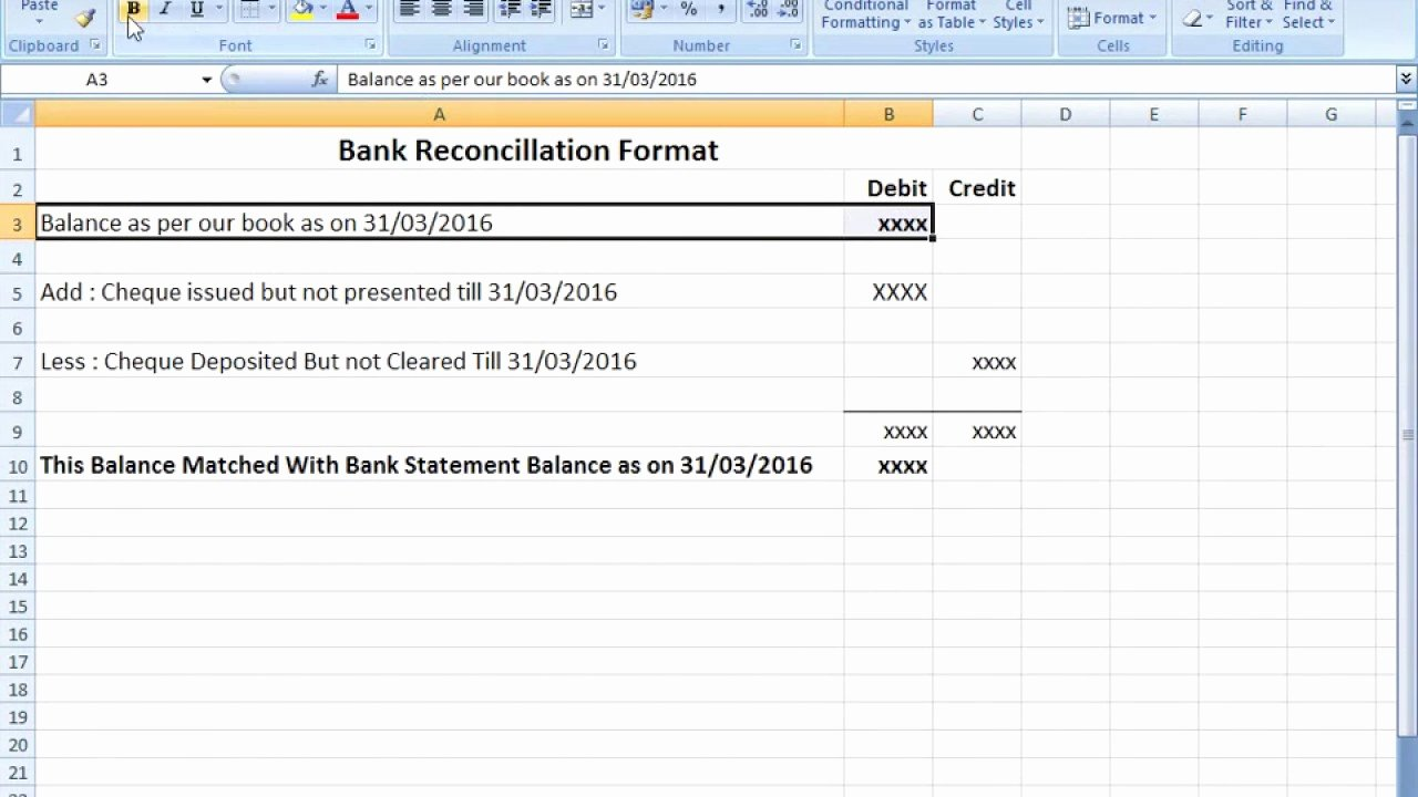 Account Reconciliation Template Excel Best Of Bank Reconciliation Statement format In Excel after Seen that You Can Easily Make Bank Reco