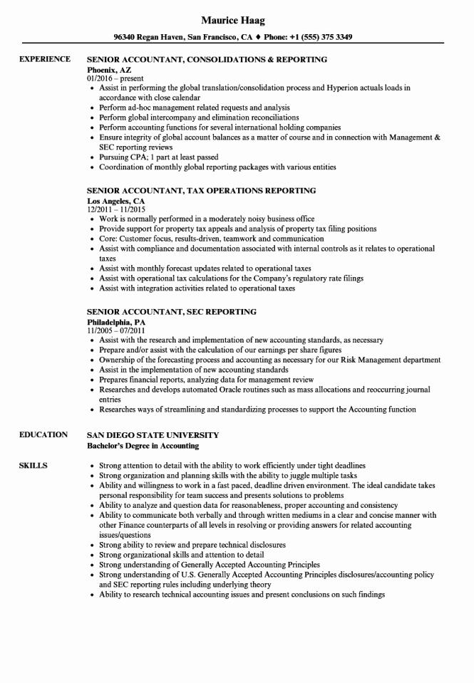 Accountant Resume Sample Pdf Awesome Sr Accountant Resume Resume Sample