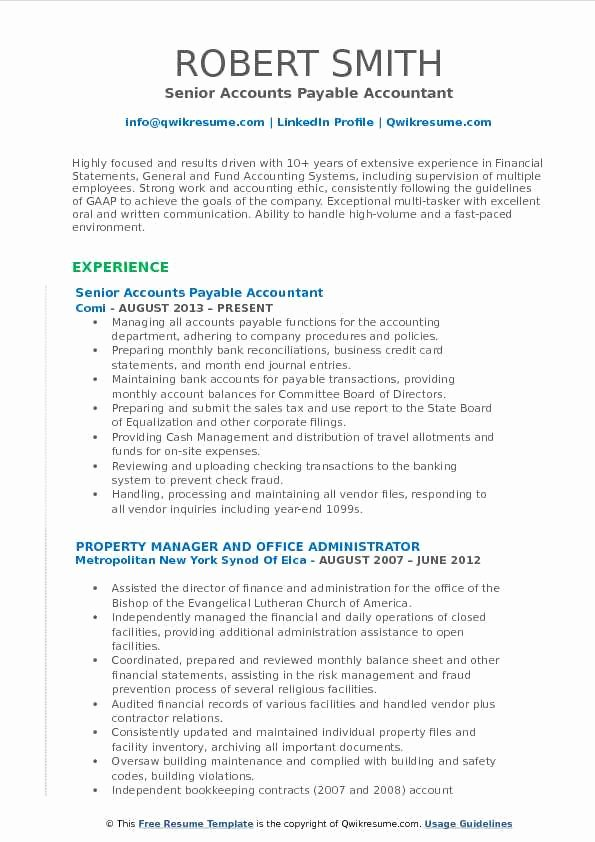 Accountant Resume Sample Pdf Beautiful Accounts Payable Accountant Resume Samples