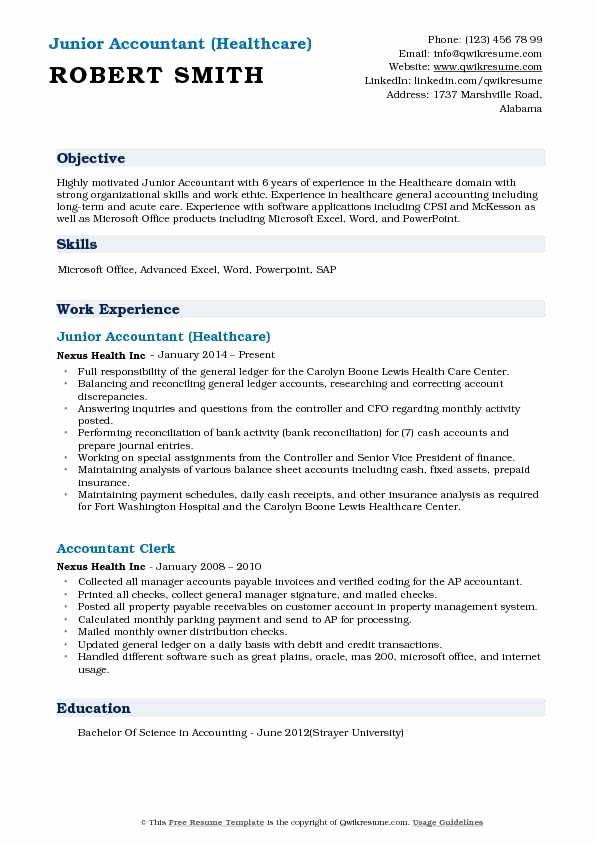 Accountant Resume Sample Pdf Best Of Junior Accountant Resume Samples