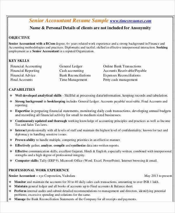 Accountant Resume Sample Pdf Fresh 30 Accountant Resume Templates Pdf Doc