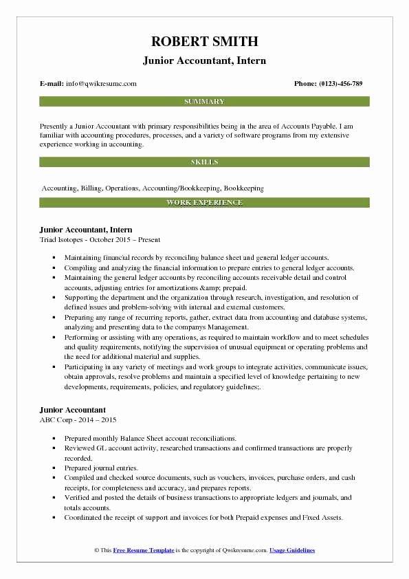 Accountant Resume Sample Pdf Fresh Junior Accountant Resume Samples