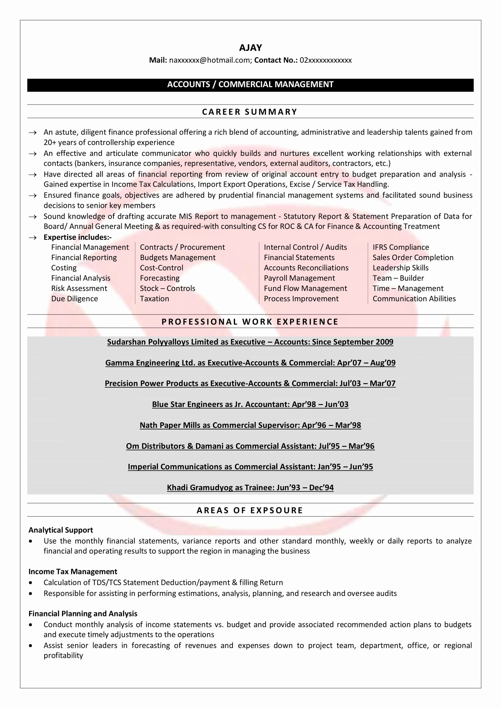 Accountant Resume Sample Pdf Fresh Senior Accountant Sample Resumes Download Resume format Templates