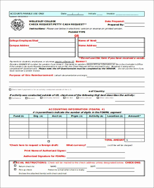 Accounts Payable Check Request form Luxury Free 18 Check Request form Templates