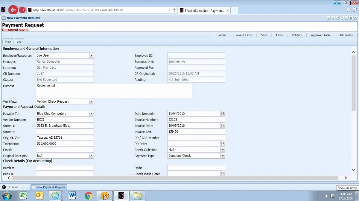 Accounts Payable Check Request form New Check Request software for Accounts Payable