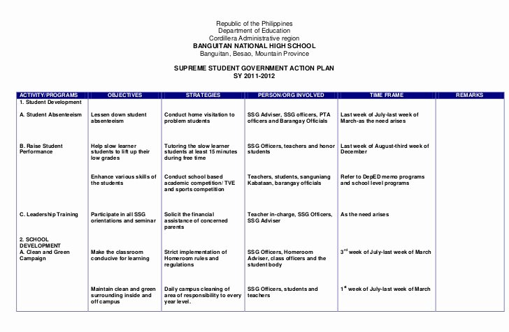 Action Plan Example for Students Lovely Action Plan Ssg