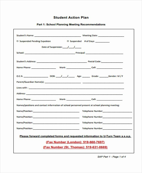 Action Plan Example for Students New 8 Student Action Plan Templates Free Sample Example format Download