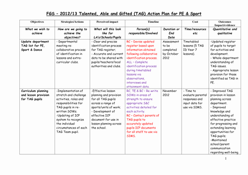 Action Plan Template for Students Beautiful E G Pe Gifted and Talented Policy and Action Plan by Eclrcoul