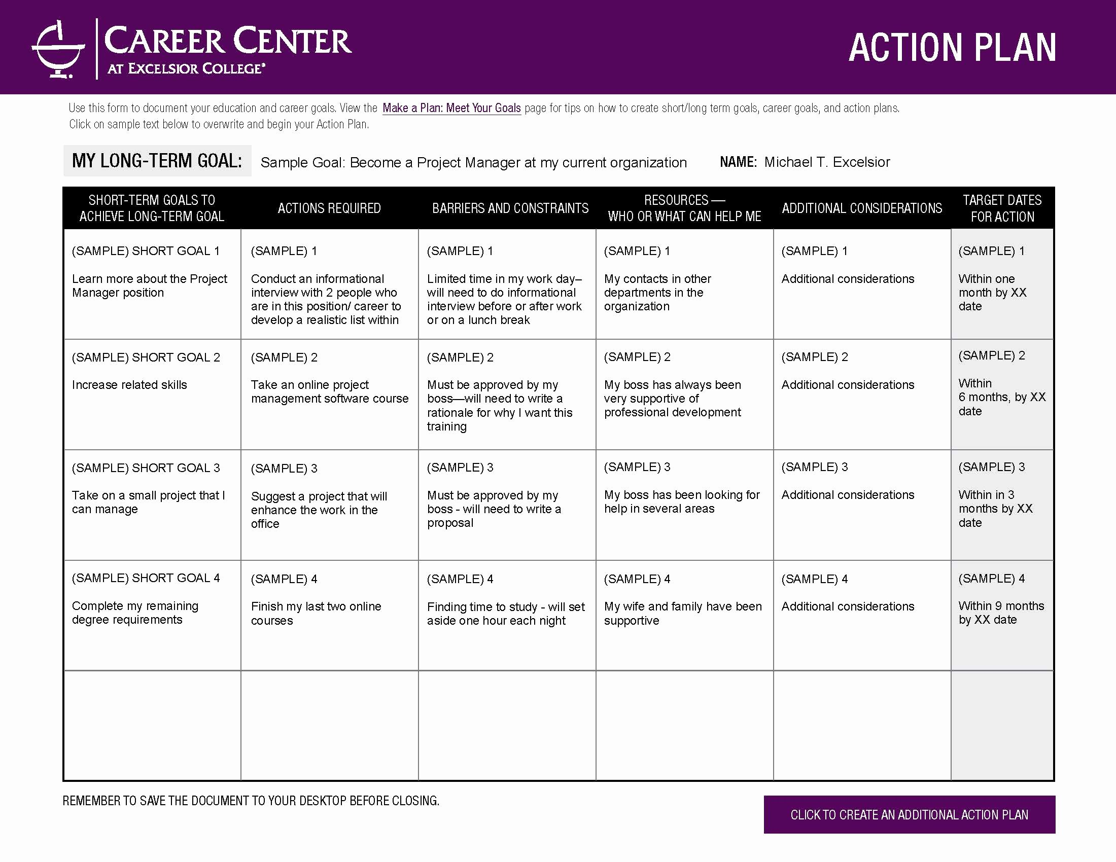 Action Plan Template for Students Beautiful Excelsior College Make A Plan Meet Your Goals Career Center