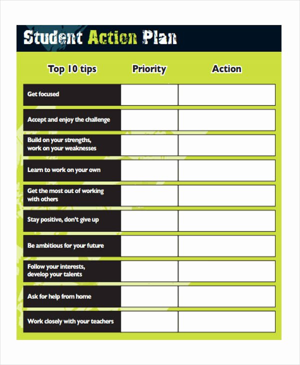 Action Plan Template for Students Best Of 8 Student Action Plan Templates Free Sample Example format Download